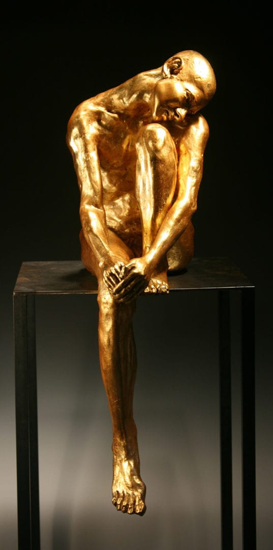 Gold_Man_Head_on_Knee_-F-L-Bob_Clyatt_Sculpture copy To Post